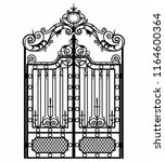 black metal gate with forged... | Shutterstock .eps vector #1164600364