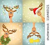 Four Funny Christmas Reindeer ...