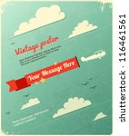 retro poster design with clouds.... | Shutterstock .eps vector #116461561