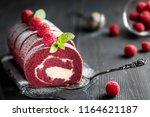 red velvet  sponge swiss roll... | Shutterstock . vector #1164621187