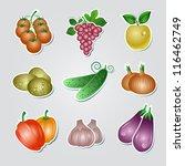 set of vegetables stickers ... | Shutterstock .eps vector #116462749