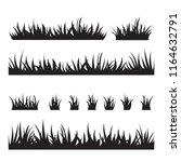 black tufts of grass. a set of... | Shutterstock .eps vector #1164632791