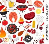 vector barbecue seamless... | Shutterstock .eps vector #1164675484
