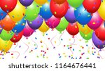colored balls with confetti | Shutterstock .eps vector #1164676441