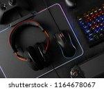 gamer workspace concept  top... | Shutterstock . vector #1164678067