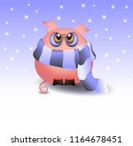 pig in winter  animal for design | Shutterstock .eps vector #1164678451