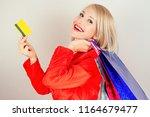 beautiful blonde female... | Shutterstock . vector #1164679477