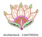 hand drawing of doodle lotus... | Shutterstock . vector #1164700201