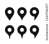 set of a various shaped map pin ... | Shutterstock .eps vector #1164706357