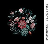 embroidery floral neckline... | Shutterstock .eps vector #1164714451