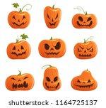set of pumpkins of different...   Shutterstock .eps vector #1164725137