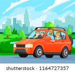 family road trip. happy family... | Shutterstock .eps vector #1164727357