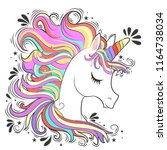 cute white unicorn with rainbow ... | Shutterstock .eps vector #1164738034