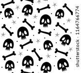 seamless pattern with skulls... | Shutterstock .eps vector #1164766774