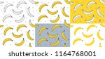 Set of yellow Bananas seamless pattern. Vector illustration