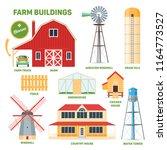 farm buildings set. cartoon... | Shutterstock .eps vector #1164773527