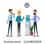 office cooler chat. young male... | Shutterstock .eps vector #1164802834