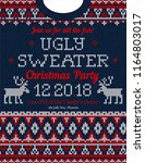 ugly sweater christmas party... | Shutterstock .eps vector #1164803017