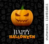 halloween background with... | Shutterstock .eps vector #1164816811