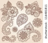 henna flowers and paisley... | Shutterstock .eps vector #116481811