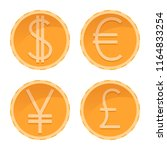 dollar  euro  yen  pound golden ... | Shutterstock .eps vector #1164833254