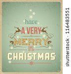 typography christmas greeting... | Shutterstock .eps vector #116483551