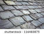 Aged Slate Roof Tiles Close Up
