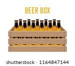 vector cartoon box with beer... | Shutterstock .eps vector #1164847144