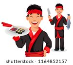 japanese chef cooking sushi... | Shutterstock .eps vector #1164852157