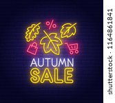 autumn sale neon sign  bright... | Shutterstock .eps vector #1164861841