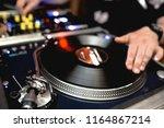 close up shot vintage vinyl... | Shutterstock . vector #1164867214