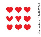 heart red icons  sign of love ... | Shutterstock .eps vector #1164877861