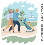 family couple and toddler in... | Shutterstock .eps vector #1164879361