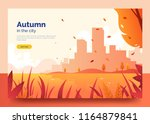 autumn web banner with city... | Shutterstock .eps vector #1164879841