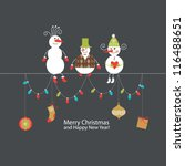 greeting card  christmas card... | Shutterstock .eps vector #116488651