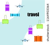 travel suitcase plane vector... | Shutterstock .eps vector #1164903364