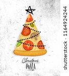 poster christmas tree pizza...   Shutterstock .eps vector #1164924244
