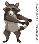 a raccoon doing floss dance... | Shutterstock .eps vector #1164929941