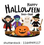 happy halloween and trick or... | Shutterstock .eps vector #1164949117