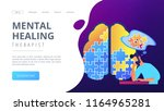 man doing human brain puzzle.... | Shutterstock .eps vector #1164965281