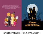 halloween family and haunted... | Shutterstock .eps vector #1164969004