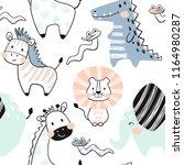 Stock vector lion giraffe elephant crocodile zebra snake baby seamless pattern scandinavian cute print 1164980287