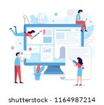 a team of web developers... | Shutterstock .eps vector #1164987214