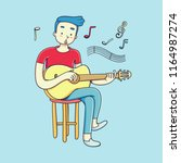 young man playing guitar and... | Shutterstock .eps vector #1164987274