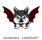 devil dog with horns and bat... | Shutterstock .eps vector #1165024357