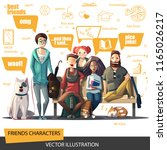 friends characters set. a... | Shutterstock .eps vector #1165026217