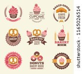 bakery retro labels. cupcakes... | Shutterstock .eps vector #1165026514