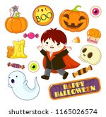 set of cute halloween... | Shutterstock .eps vector #1165026574