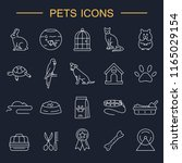 pets line icons set. outline... | Shutterstock .eps vector #1165029154