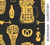 oktoberfest beer festival. hand ... | Shutterstock .eps vector #1165057387